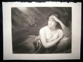Pretty Ladies 1854 Steel Engraving. The Nymph. Risque